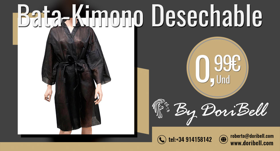 Bata Kimono Negro Desechable